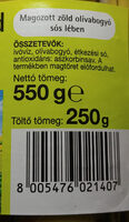 Zielone oliwki bez pestek w zalewie. - Wartości odżywcze