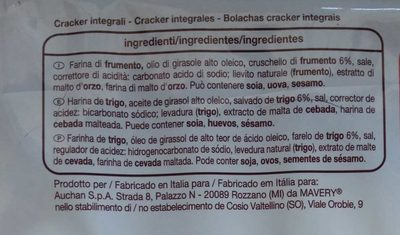 Crackers integrales - Ingredientes - es