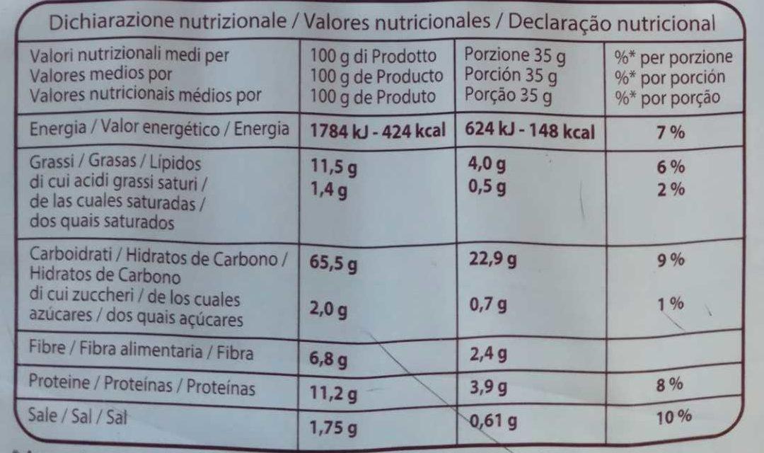 Crackers integrales - Información nutricional - es
