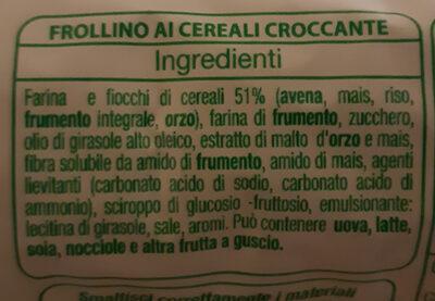 Frollini croccanti ai cereali - Ingredients - it