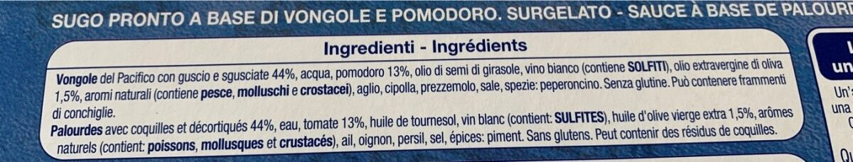 Sauce aux Palourdes Surgelée - Ingrédients