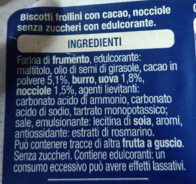 Biscotti con cacao e nocciole senza zuccheri - Składniki - it
