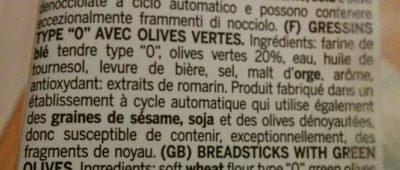 Il grissino con olive verdi - Ingredients - fr
