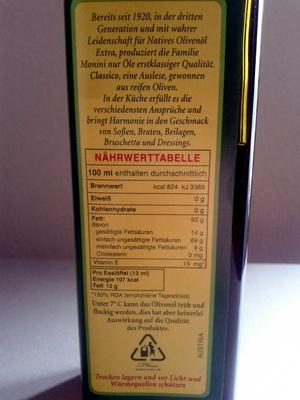 Monini Natives Olivenöl Extra - Nutrition facts