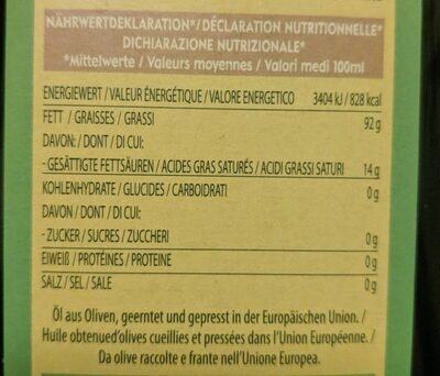 Monini classico Olio extra vergine - Valori nutrizionali - fr