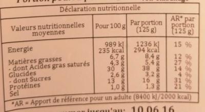 Tournesols Mozzarella Tomate - Nutrition facts - fr