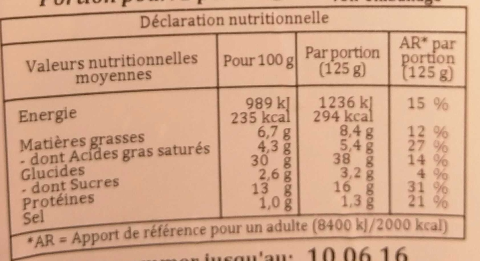 Tournesols Mozzarella Tomate - Voedingswaarden - fr
