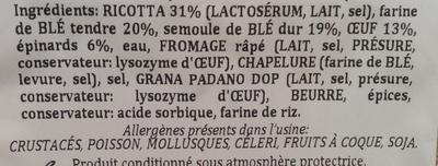 Agnolotti ricotta épinards - Ingrédients - fr