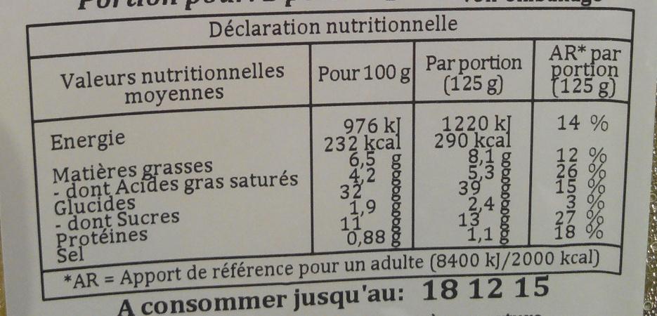 Agnolotti ricotta épinards - Informations nutritionnelles - fr