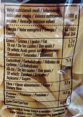 Tortiglioni - Voedingswaarden