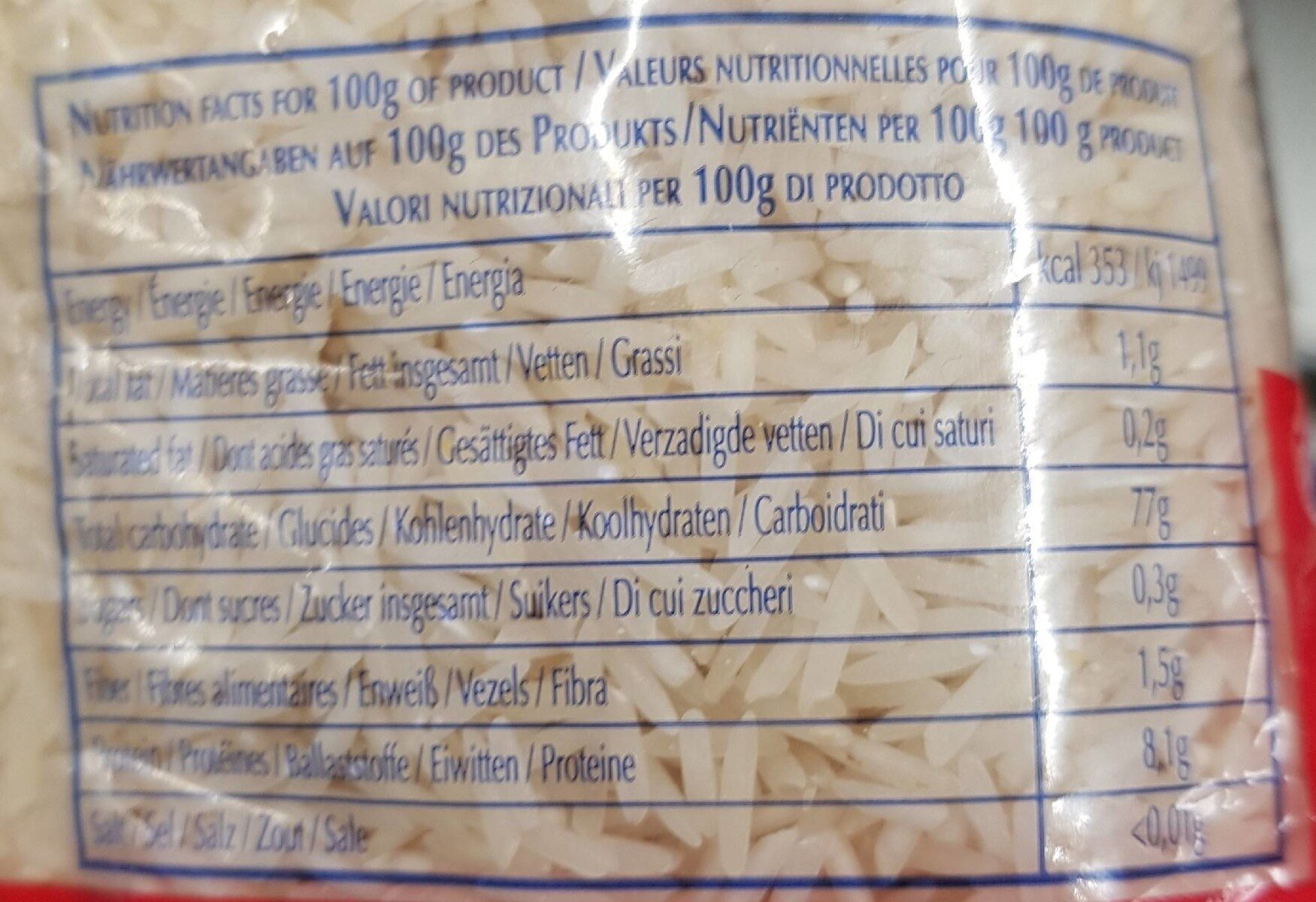Basmati rice - Valori nutrizionali - fr