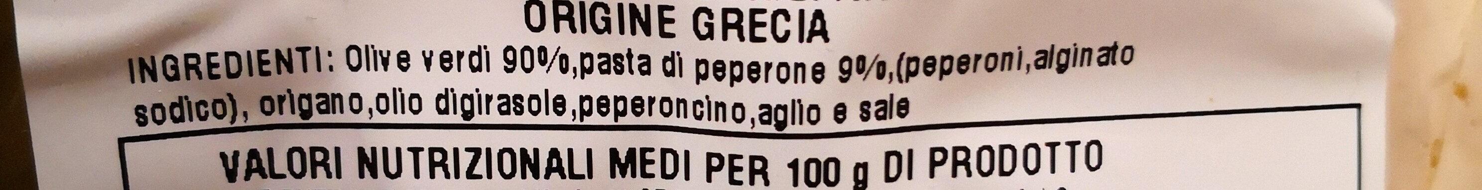Olive verdi al peperone denocciolate - Ingrédients