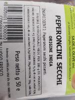 Peperoncini Secchi - Ingrediënten - en