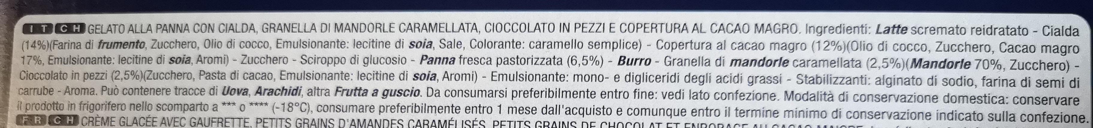 Coni gelato Cinque Stelle - Ingredients