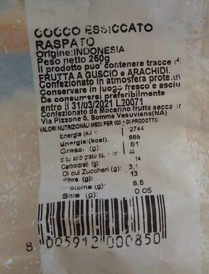 Farina Frutta Abc Best Fruit Cocco 250 GR Farfrut - Informations nutritionnelles - fr