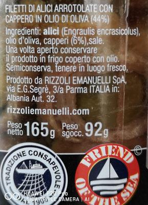 Filetti di Alici in olio d'oliva - Ingrédients - it