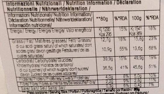 Grande Muffin Pera E Cioccolato - Nutrition facts - fr