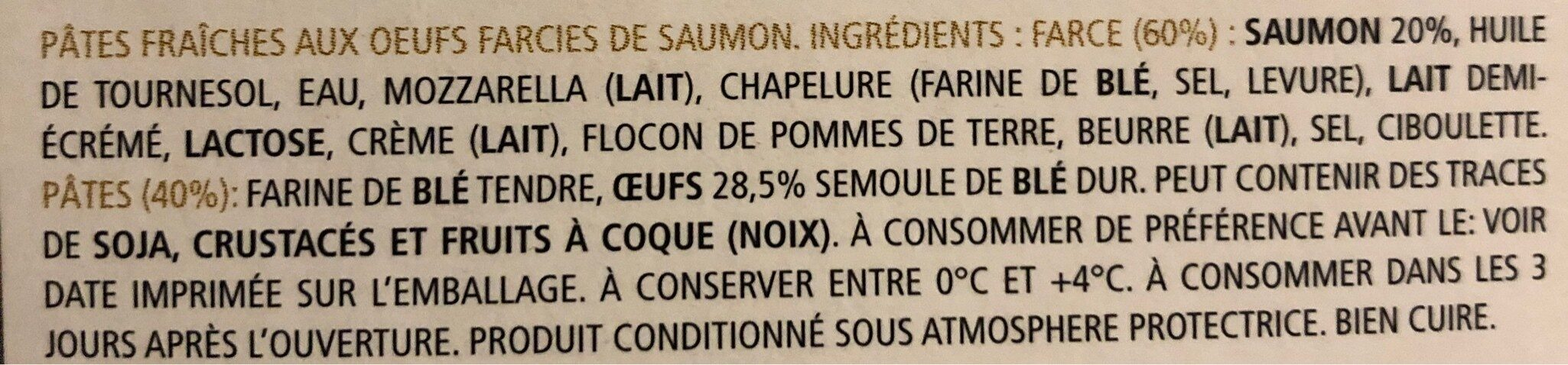 Mezzelune al salmone - Ingrédients - fr
