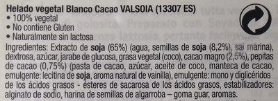 Il Gelato Bianco Cacao - Ingredientes