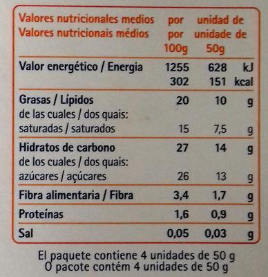 Il Gelato base Mandorla Ricoperto al cioccolato 4 Mini Stecchi - Informazioni nutrizionali