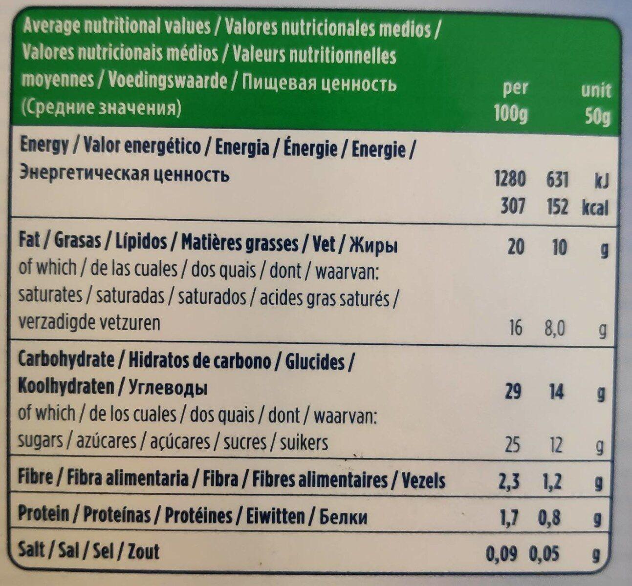 il gelato 4 mini Sticks (Coconut) (Vegan) - Información nutricional - es