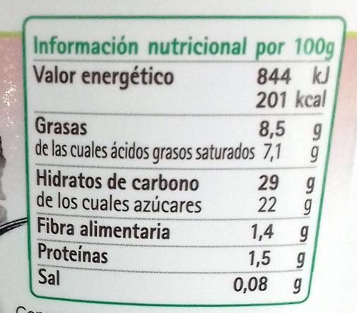 Helado de Tiramisú - Información nutricional