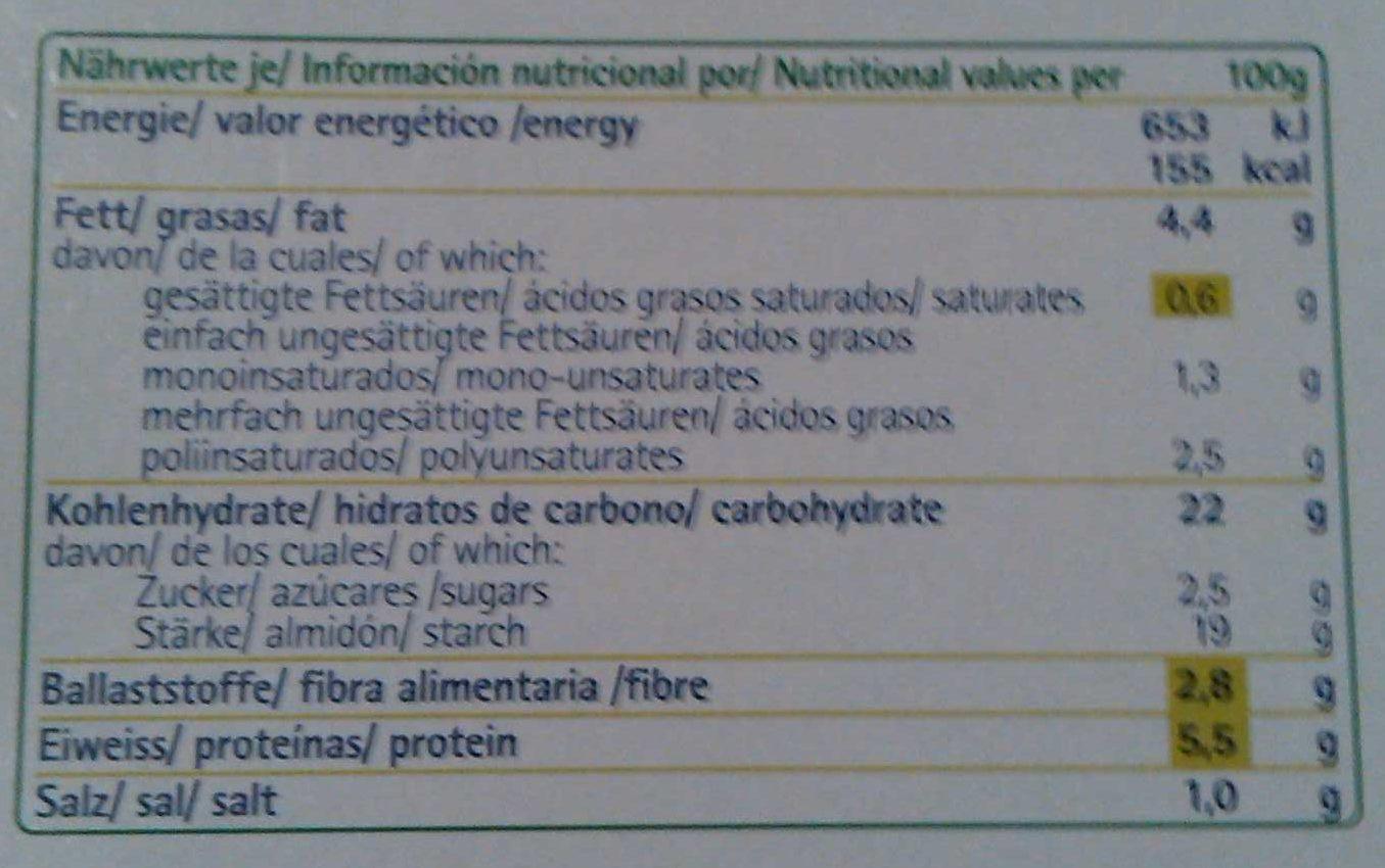 Pizza vegetal con 5 verduras - Información nutricional