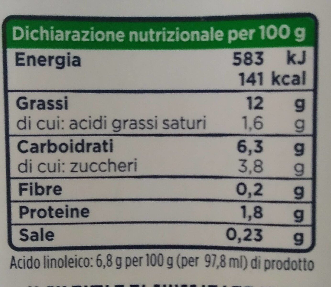 Cucina - Nutrition facts - fr
