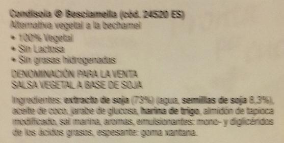 Condisoia besciamella - Ingrédients - es