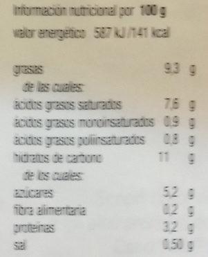 Condisoia besciamella - Informations nutritionnelles - es