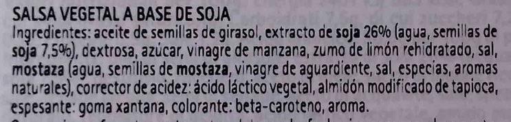 Maionese senza uova con soia Condisoia - Ingredients - es