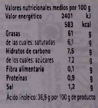 Maionese senza uova con soia Condisoia - Informació nutricional