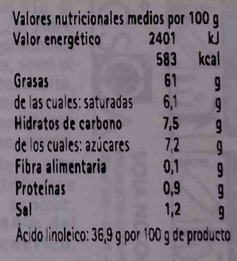 Maionese senza uova con soia Condisoia - Informació nutricional - es