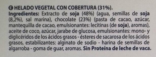 Helado vegetal con cobertura - Ingredientes