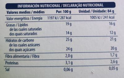 Helado de soja - Informació nutricional - es