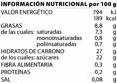 Helado vegetal de arroz - Sabor vainilla bourbon - Nutrition facts