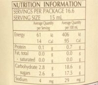 Mazzetti Balsamic Vinegar of Modena 250ML (1 Leaf) - Informations nutritionnelles - de