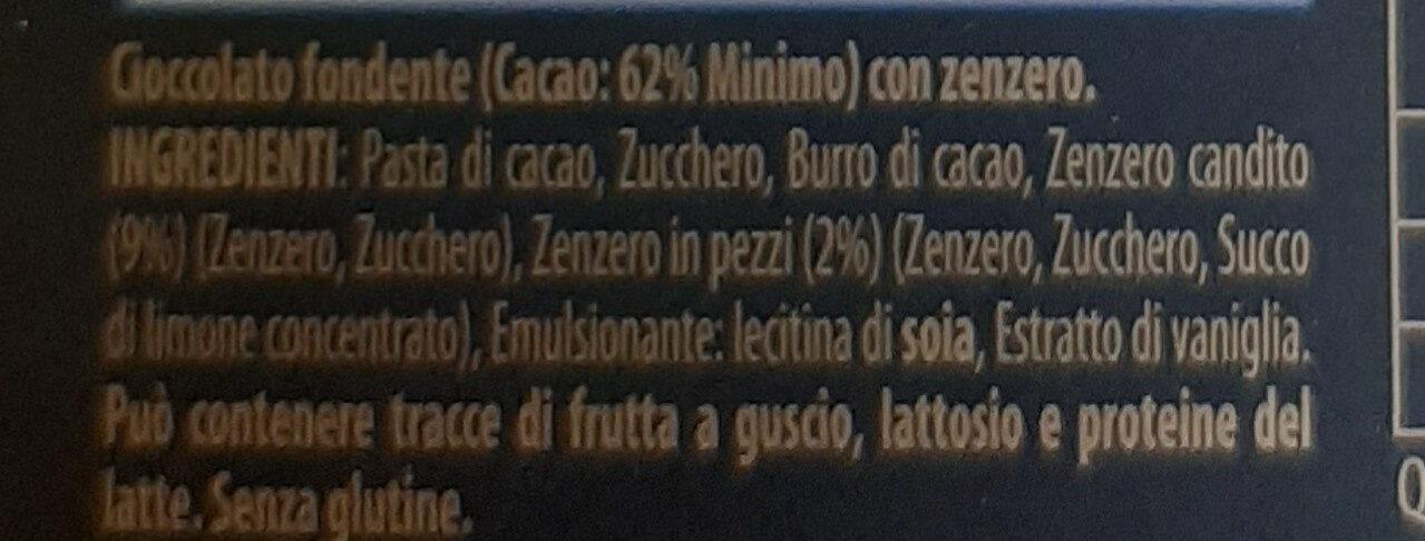 Cioccolato fondente con zenzero - Ingredienti - it