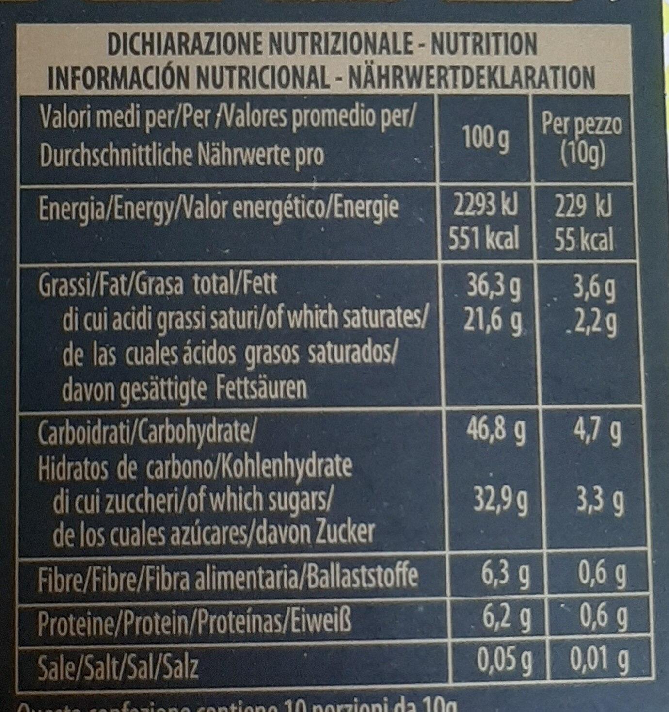 Cioccolato fondente con zenzero - Informazioni nutrizionali - it
