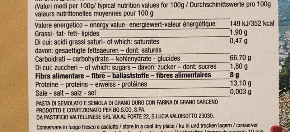 Pizzoccheri - Valori nutrizionali - it