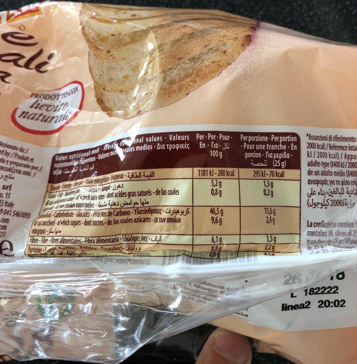 Pain Aux 5 Céréales - Informations nutritionnelles