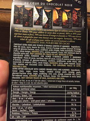 Chocolat noir écorces d'orange confites et amandes - Ingrediënten - fr