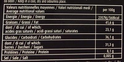 Chocolat noir écorces d'orange confites et amandes - Voedingswaarden - fr