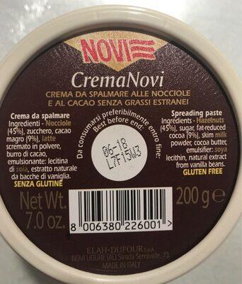 PATE A TARTINER AU CHOCOLAT NOISETTES - Informations nutritionnelles - it