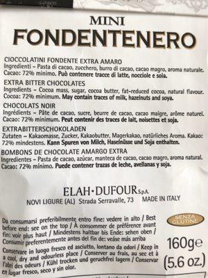 Novi Mini Fondente Nero GR. 160 - Ingredients