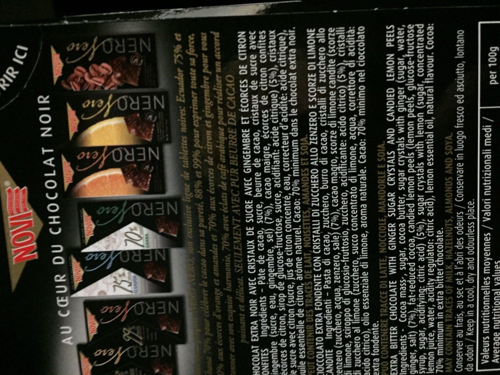 Nero Nero Extra Fondente con Scorzette di Limone - Ingrédients - fr