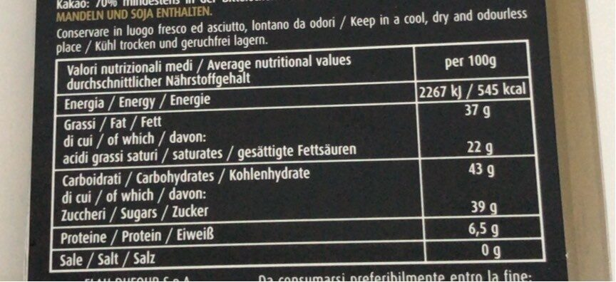 Nero Nero Extra Fondente con Scorzette di Limone - Informations nutritionnelles - fr