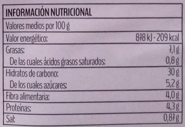 Mezzelune con verduras a la parrilla - Informació nutricional