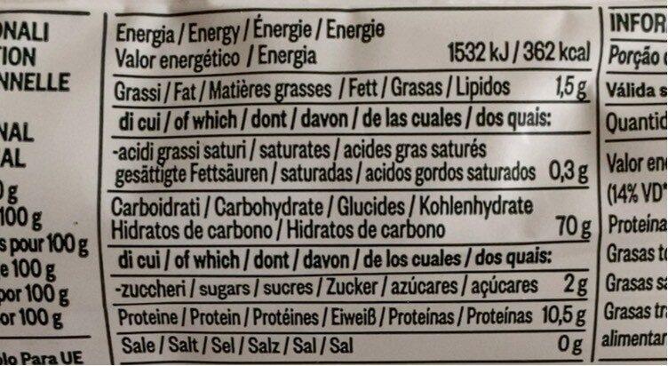 Bio Spaghetti N. 4 500 GR. Delverde - Informations nutritionnelles - fr