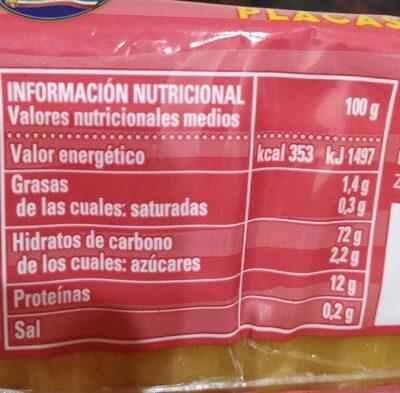 Lasaña placas precocinadas - Nutrition facts - en